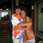 Carlos Santana & Cindy Blackman Santana outside control room at Grace Recording Studio
