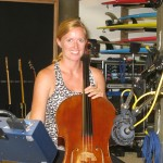 Silvina playing her cello on a session